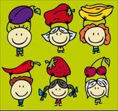 Kinderen en vruchten stock illustratie