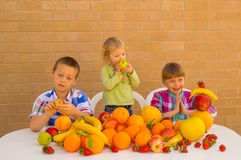 Kinderen en vruchten stock foto