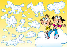 Kinderen en wolken royalty-vrije illustratie