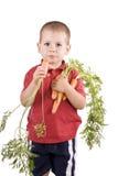 Kinderen en wortelen Royalty-vrije Stock Foto's