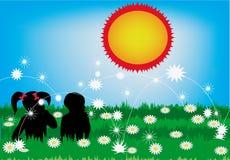 Kinderen en zon Royalty-vrije Illustratie
