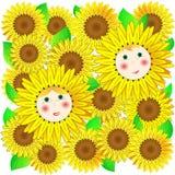 Kinderen en zonnebloemen. Vector. Stock Foto's