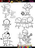 Kinderen geplaatst beeldverhaal kleurende pagina Stock Foto's