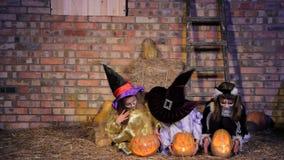 Kinderen in Halloween-Kostuums die Pompoenen brengen stock footage