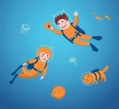 Kinderen het duiken royalty-vrije illustratie
