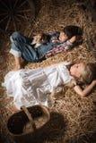Kinderen in het hooi in de schuur met een katje Stock Fotografie