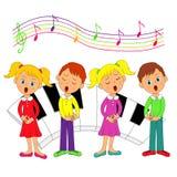 Kinderen, jongens en meisjes het zingen stock illustratie
