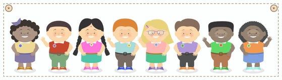 Kinderen, jongens en meisjes van verschillend nationaliteitenbeeldverhaal vec Stock Foto's