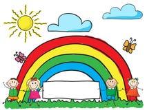 Kinderen met banner Stock Foto