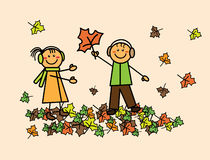 Kinderen met de herfstbladeren Stock Fotografie