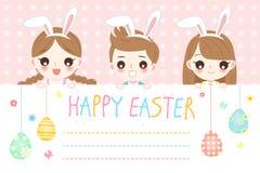 Kinderen met gelukkige Pasen stock illustratie