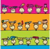 Kinderen met hulpmiddelen royalty-vrije illustratie