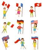 Kinderen met nationale vlaggen van verschillende landen, de elementen van het vakantieontwerp voor Onafhankelijkheidsdag, de vect vector illustratie
