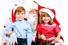 Kinderen met santa Stock Afbeelding