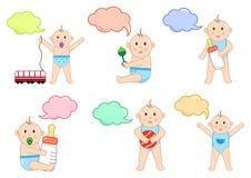 Kinderen met speelgoed en dialoogvenster, illustratie stock illustratie