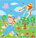 Kinderen met vlieger Stock Afbeeldingen