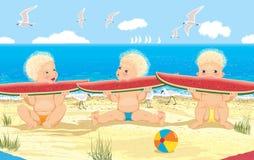Kinderen met watermeloen Stock Afbeeldingen