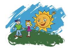 Kinderen met zon Stock Afbeelding