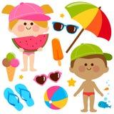 Kinderen met zwempakken en hoeden De elementen van het de vakantieontwerp van de strandzomer royalty-vrije illustratie