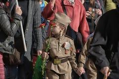 Kinderen in militaire uniformen WO.II royalty-vrije stock foto