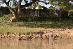 Kinderen netto visserij dichtbij riverbank royalty-vrije stock fotografie