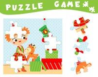 Kinderen onderwijsspel Kerstmis en nieuw jaarraadsel voor peuters, babys en jonge geitjes Plaats ontbrekende delen van beeld royalty-vrije illustratie