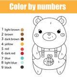 Kinderen onderwijsspel Kleurende pagina met leuke beer Kleur door aantallen, voor het drukken geschikte activiteit stock illustratie