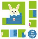 Kinderen onderwijsspel Vind het ontbrekende stuk en voltooi het beeld De activiteit van raadseljonge geitjes Dierenthema stock illustratie