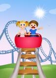 Kinderen op achtbaan vector illustratie