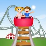 Kinderen op achtbaan royalty-vrije illustratie