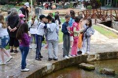 Kinderen op de leeftijd van zeven of acht die in een pretpark spelen Stock Afbeelding