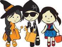 Kinderen op een vakantie Halloween Stock Foto