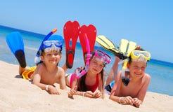 kinderen op het strand Stock Afbeelding
