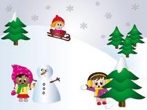 Kinderen op sneeuw Stock Foto