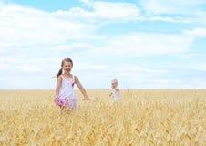 Kinderen op tarwegebied Royalty-vrije Stock Afbeelding