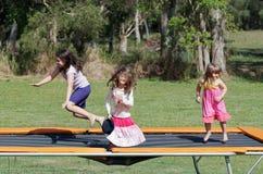 Kinderen op trampoline Stock Fotografie