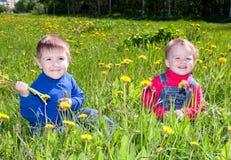 Kinderen op weidepaardebloem royalty-vrije stock foto's