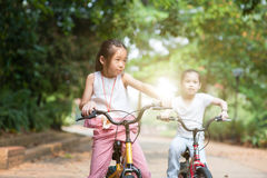 Kinderen openlucht biking Stock Fotografie