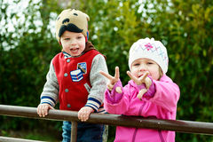 Kinderen in park Stock Foto's