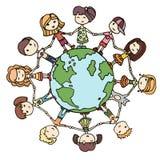 Kinderen rond de Wereld Stock Foto