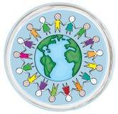 Kinderen rond de wereld in de blauwe cirkel Stock Afbeelding