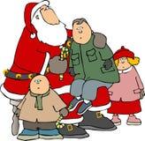 Kinderen rond Kerstman Stock Foto