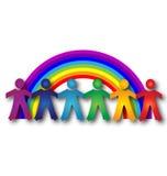 Kinderen rond regenboog Stock Afbeelding