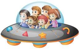 Kinderen in ruimteschip Stock Foto