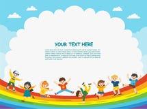 Kinderen` s activiteiten De gelukkige kinderen springen op regenboogachtergrond royalty-vrije illustratie