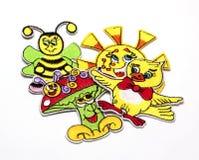 Kinderen` s gekleurde stickers voor de stof Stock Fotografie