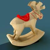 Kinderen ` s het Schommelen Elanden Een stuk speelgoed voor de pret van een kind Materieel hout 3D Illustratie Royalty-vrije Stock Afbeelding