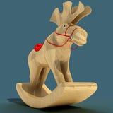 Kinderen ` s het Schommelen Elanden Een stuk speelgoed voor de pret van een kind Materieel hout 3D Illustratie Royalty-vrije Stock Fotografie