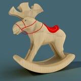 Kinderen ` s het Schommelen Elanden Een stuk speelgoed voor de pret van een kind Materieel hout 3D Illustratie Royalty-vrije Stock Foto's