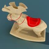Kinderen ` s het Schommelen Elanden Een stuk speelgoed voor de pret van een kind Materieel hout 3D Illustratie Stock Afbeelding